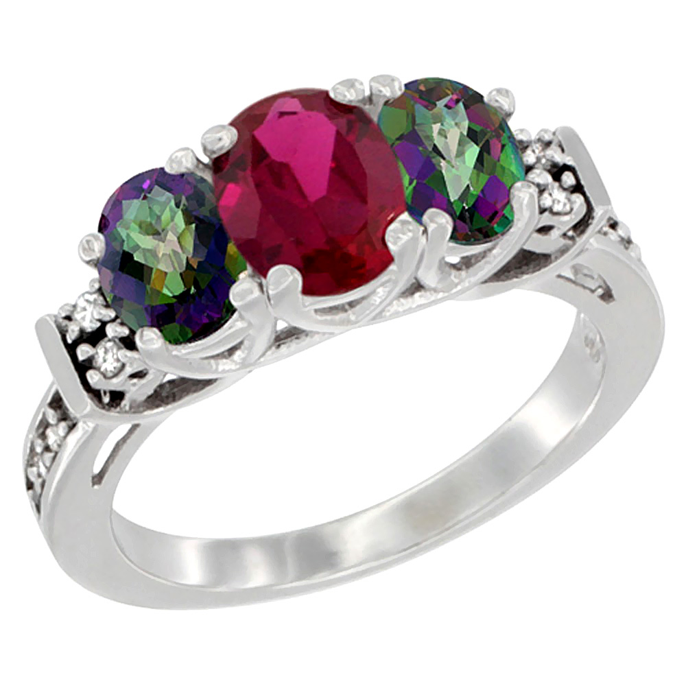 14K White Gold Natural HQ Ruby & Mystic Topaz Ring 3-Stone Oval Diamond Accent, size 5.5 by Gabriella Gold