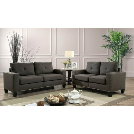Furniture Of America Zilly Modern Victorian 2 Piece Sofa Set In Gray