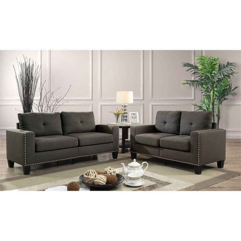 Ordinaire Furniture Of America Zilly Modern Victorian 2 Piece Sofa Set In Gray