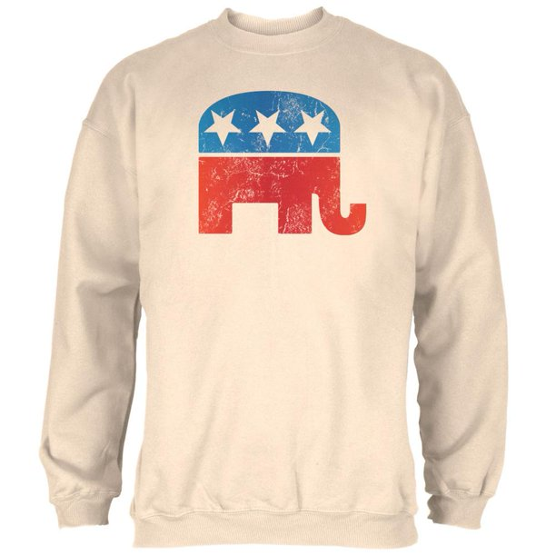 Distressed Republican Elephant Logo Natural Adult Sweatshirt - X-Large