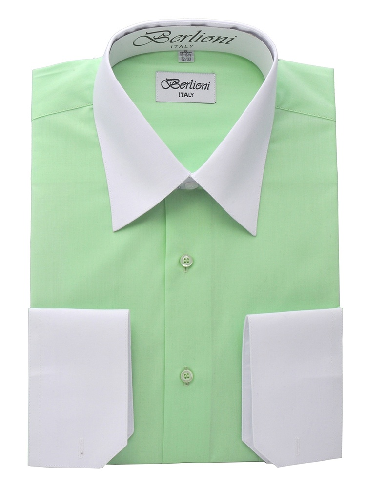 Berlioni Italy White Collar /& Cuffs Mens Two Tone Dress Shirt 19 Colors /& Sizes