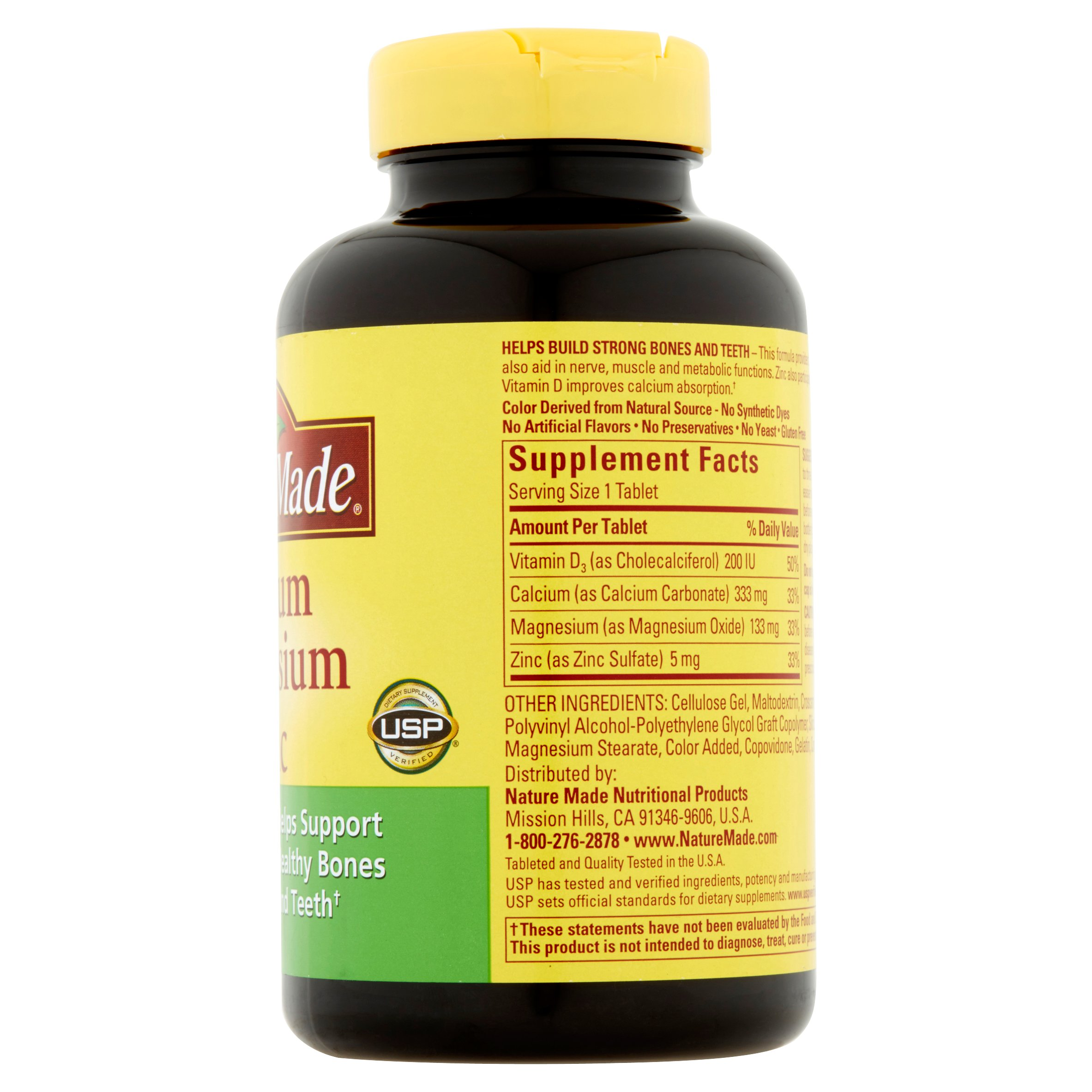 Nature Made Calcium Magnesium Zinc With Vitamin D Tablets 200 Count