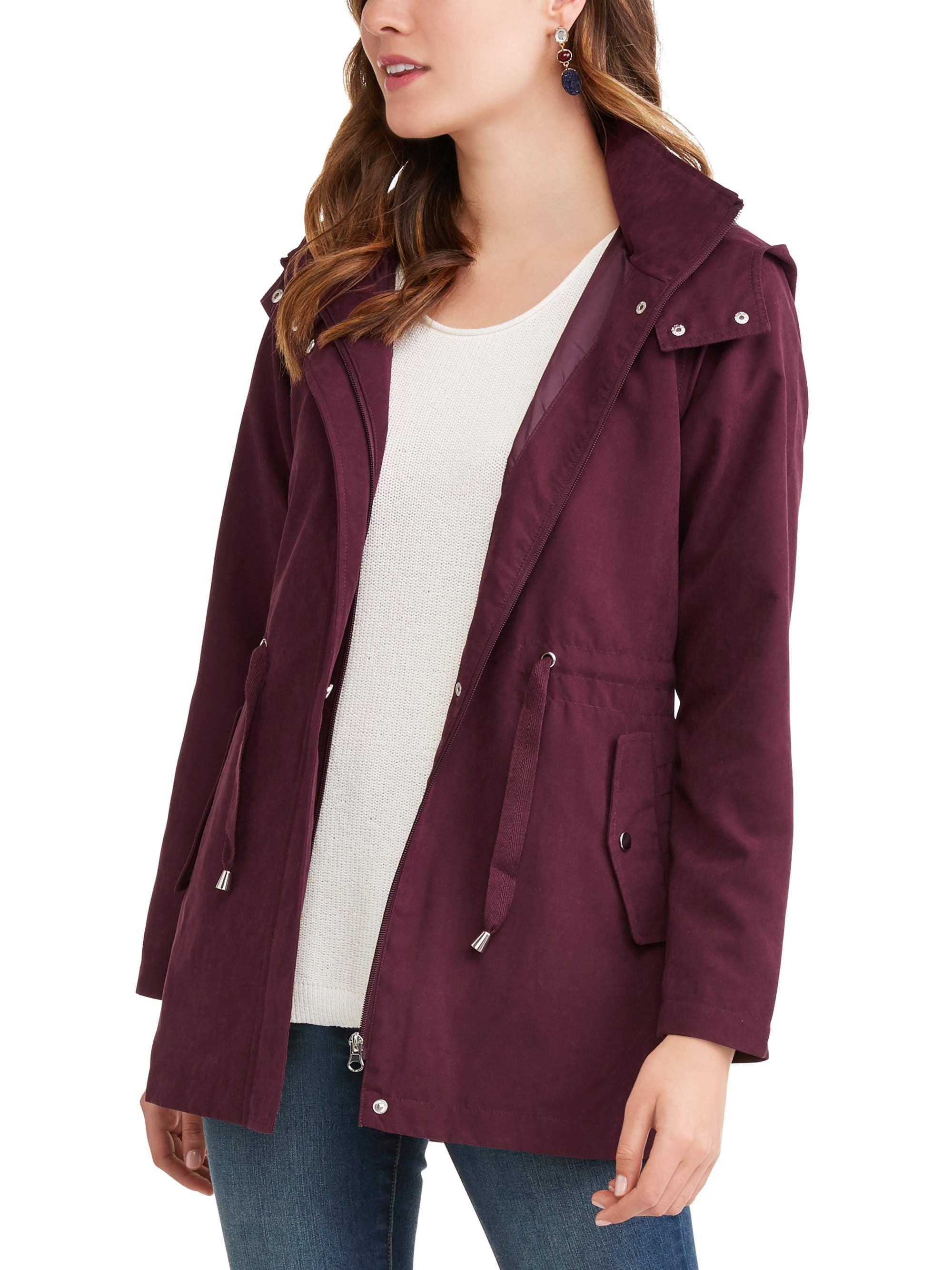 New Ladies Women Anorak Light Weight Hooded Rain Coat Look ZIP Bomber Jacket TOP