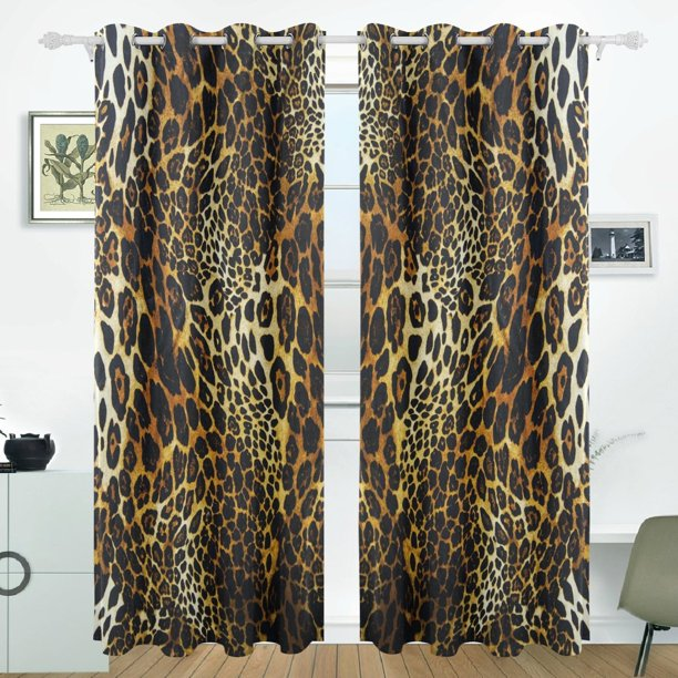 Popcreation Leopard Skin Background Window Curtain Blackout Curtains Darkening Thermal Blind Curtain For Bedroom Living Room 2 Panel 52wx84l Inches Walmart Com Walmart Com