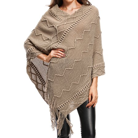 Sweater Cape Long Knitted Pullover Tassel Shawl Loose Wool Poncho Cape Sweater Knitwear for Women (Wool Poncho For Women)