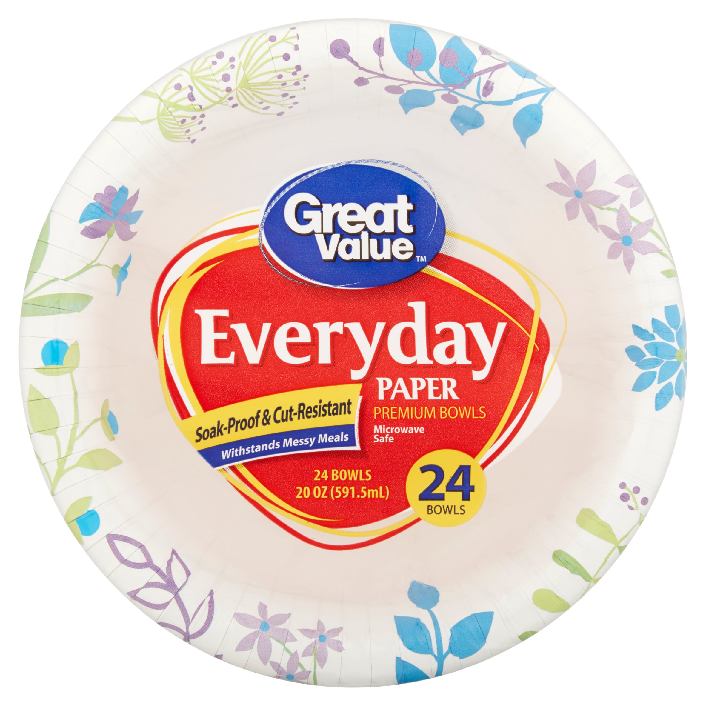 Great Value Everyday Paper Premium Bowls, 20 oz, 24 count