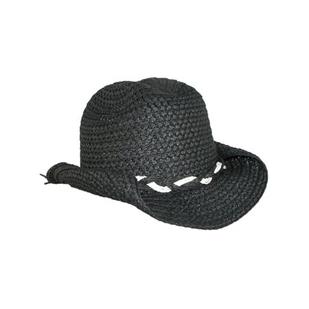Size one size Girl's Straw Braided Trim Cowgirl Western - Black Cowgirl Hat With Rhinestones