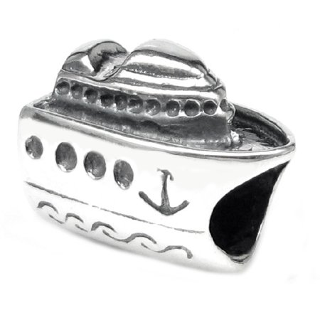 Queenberry Sterling Silver 'Nautical Cruise Ship' European Bead Charm Fits Pandora