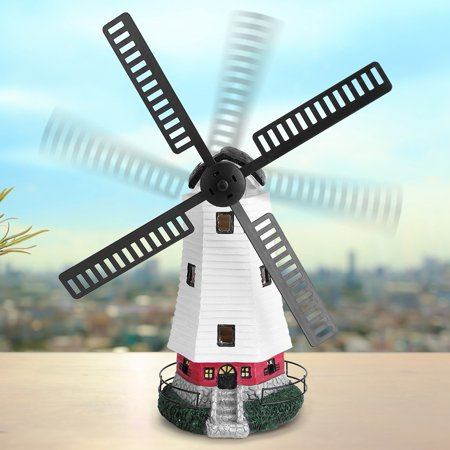 Ymiko Windmill Light, Solar Powered LED Windmill Light Lamp for Outdoor Garden Landscape Decor Ornament, Solar Patio Light ()