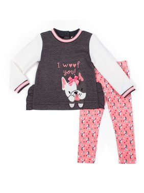Little Lass Chevron Quilted Top and Printed Leggings, 2pc Outfit Set (Baby Girls & Toddler Girls)