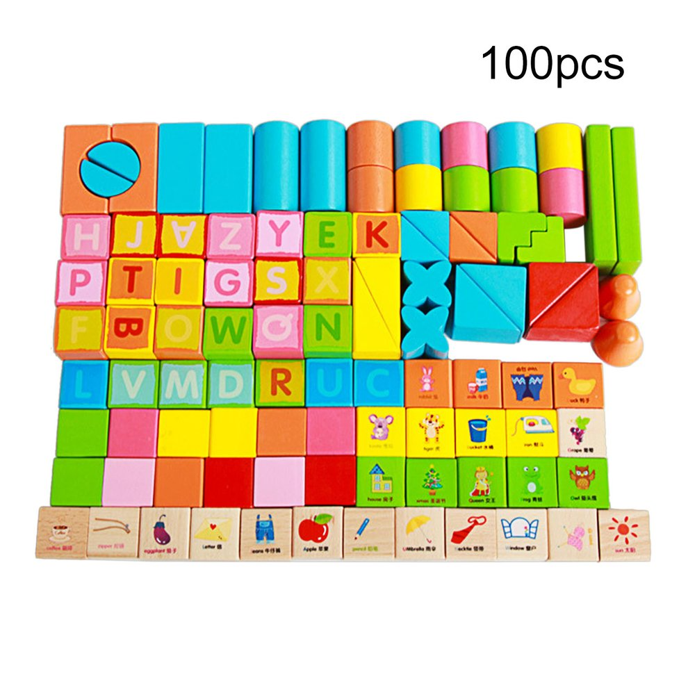 100Pcs Set Wooden Children Building Blocks Toys Early Educational Kids Intelligent... by