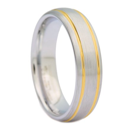 6mm Brushed White Tungsten Carbide Ring 2 Gold Stripes MJ Wedding Band