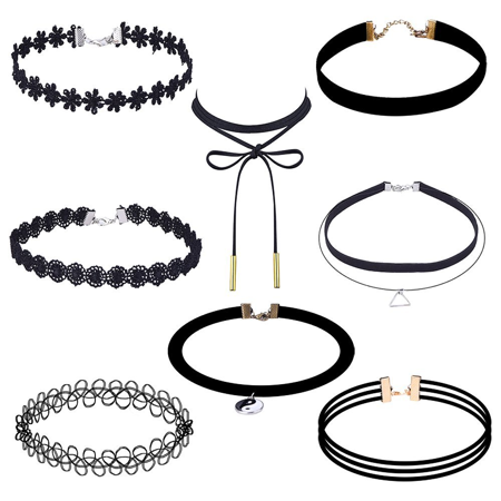 Assorted Stretch Velvet Design Choker Necklaces - 8 (Necklace Assorted Wood)