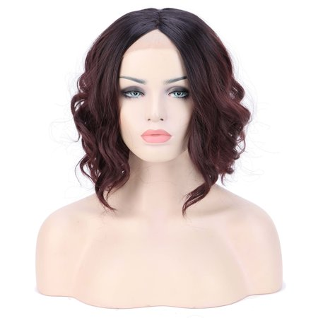 S-noilite Synthetic Ombre Hair Lace Front Wig Long Bob Short Wigs Wavy Curly Full Wigs For Women Party Cosplay Costume ,Black Brown to Wine (Best Ombre Short Hair)