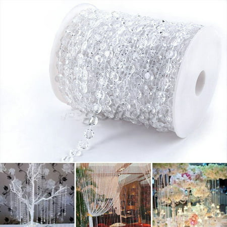 Estink Acrylic Crystal Beads Curtain Garland Diamond Strand DIY Wedding Decorations (30Meters)-99FT 1 Roll - Garland Diy