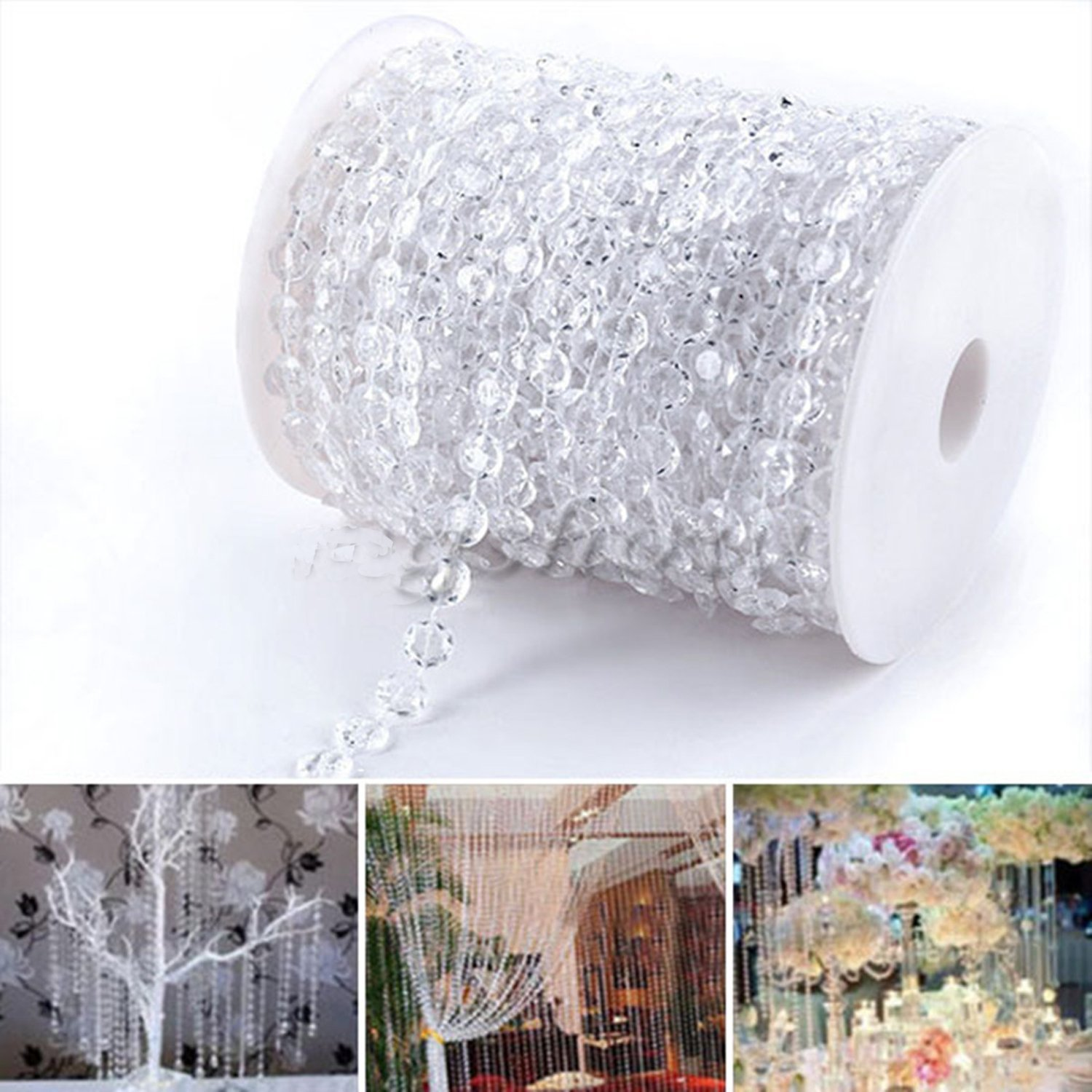 Estink Acrylic Crystal Beads Curtain Garland Diamond Strand DIY Wedding Decorations (30Meters)-99FT 1 Roll