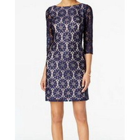 Jessica Howard NEW Cobalt Blue Womens Size 6 Lace Illusion Sheath - Jessica Rabbit Dresses