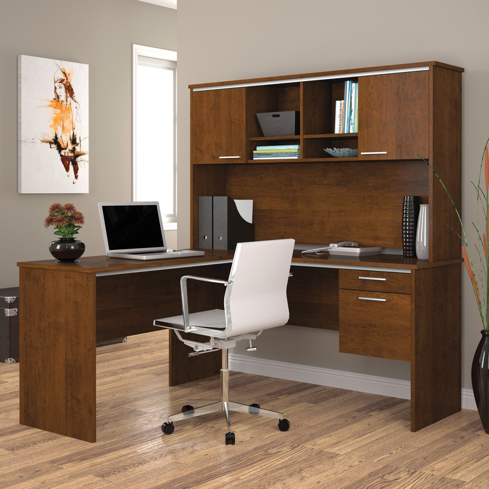 Bestar 90427-63 Flare L-Shaped Workstation - Tuscany Brown