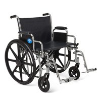 "Medline Excel Extra-Wide Bariatric Wheelchair, 24"" Seat Width, Removable Desk Length Arms & Swing Away Footrests, 500lb Weight Capacity, Chrome Frame"