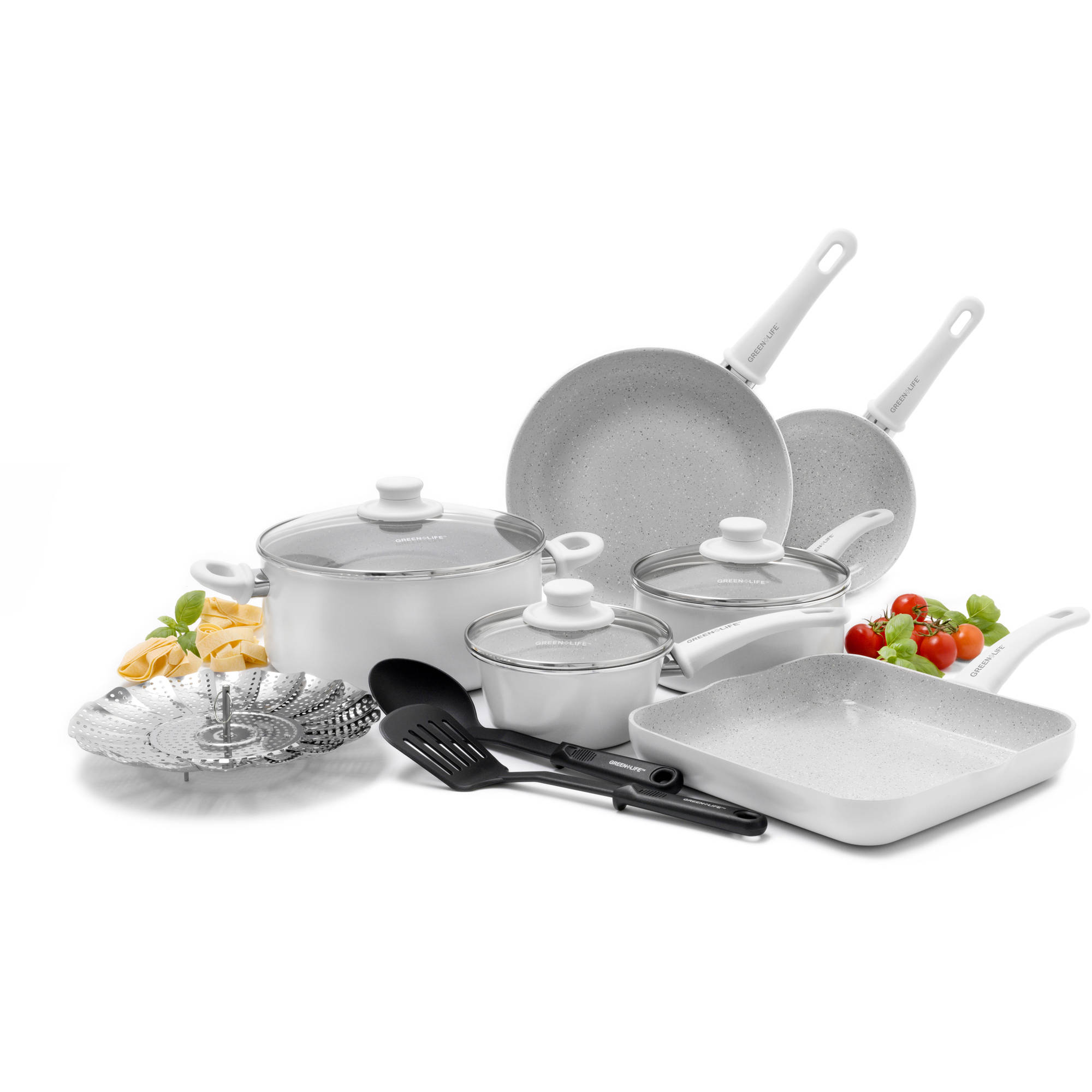 GreenLife Healthy Ceramic Rocks Performance Non-Stick 12-Piece Soft Grip Cookware Set