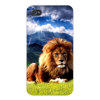 Apple Iphone Custom Case 5 / 5s White Plastic Snap on - African King Lion w/ Mane & Mountains East access to all buttons and ports