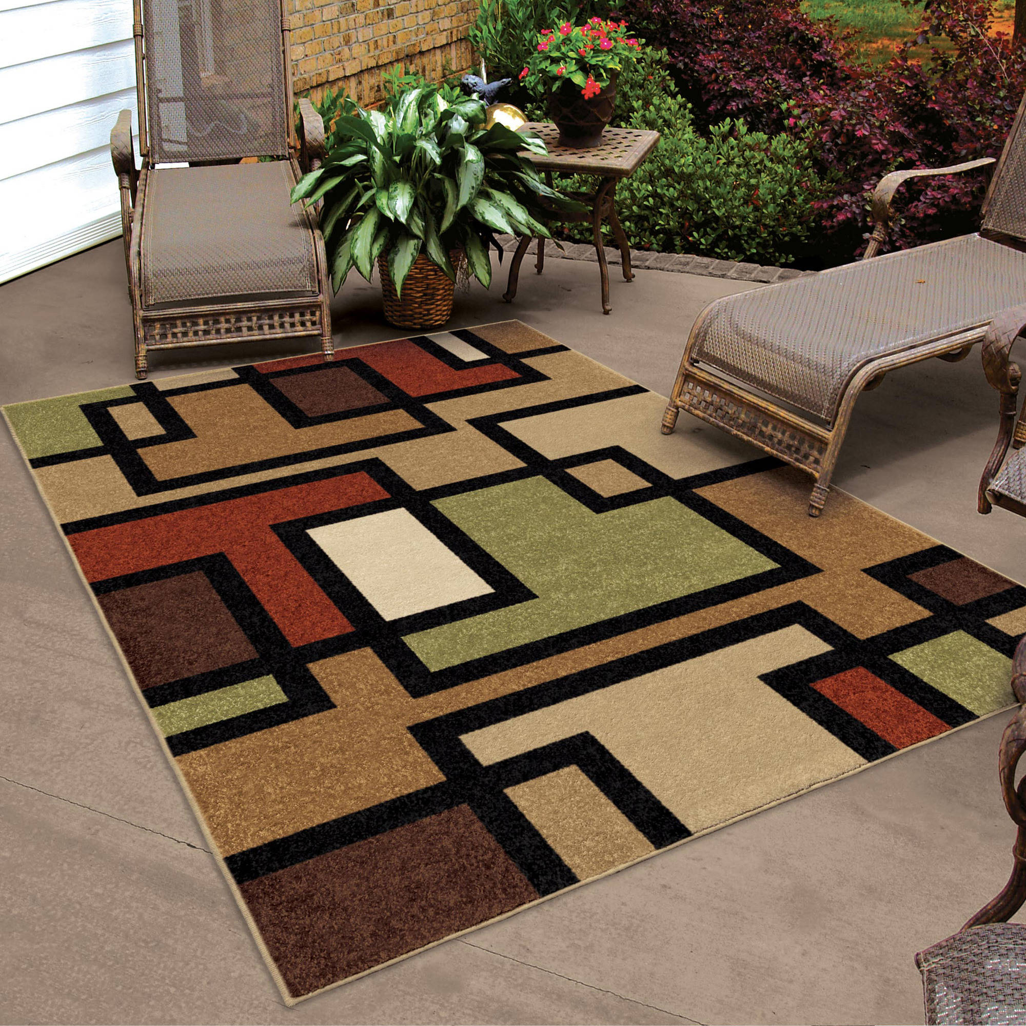 Captivating Orian Rugs Blended Blocks Multi Colored Area Rug Pictures