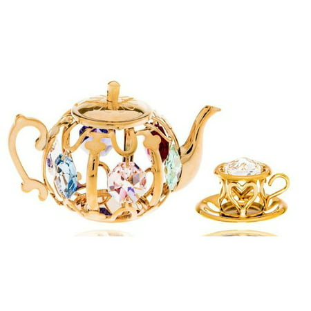 - Matashi  24k Gold Plated Tea Set Ornaments with Genuine  Crystals
