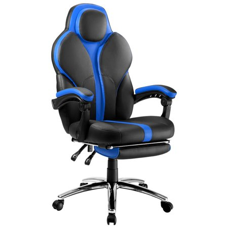 - LANGRIA Faux Leather Racing Gaming Chair Computer Office Chair, with Footrest and Lumbar Cushion, Ergonomic Design, Cobalt Blue
