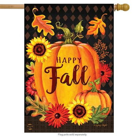 Happy Fall Pumpkin House Flag Autumn Leaves Sunflower 28