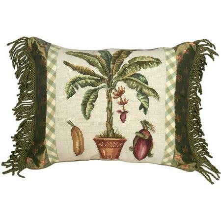 123 Creations Tropial Banana Tree Needlepoint Wool Lumbar Pillow