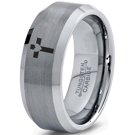 Tungsten Heart Cross Band Ring 8mm Men Women Comfort Fit Gray Bevel Edge Brushed Polished