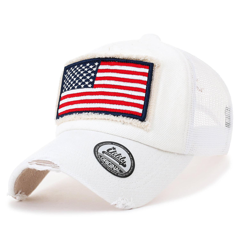 31c3a0a0 ililily USA Flag Patch Denim Cotton Vintage Distressed Baseball Cap Trucker  Hat , Black - Walmart.com