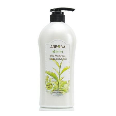 ARBORA Hand & Body Lotion WHITE TEA 25.4OZ/750ML  Paraben Free Natural Ultra-Moisturizing, Professional Massage Lotion Original from Korea