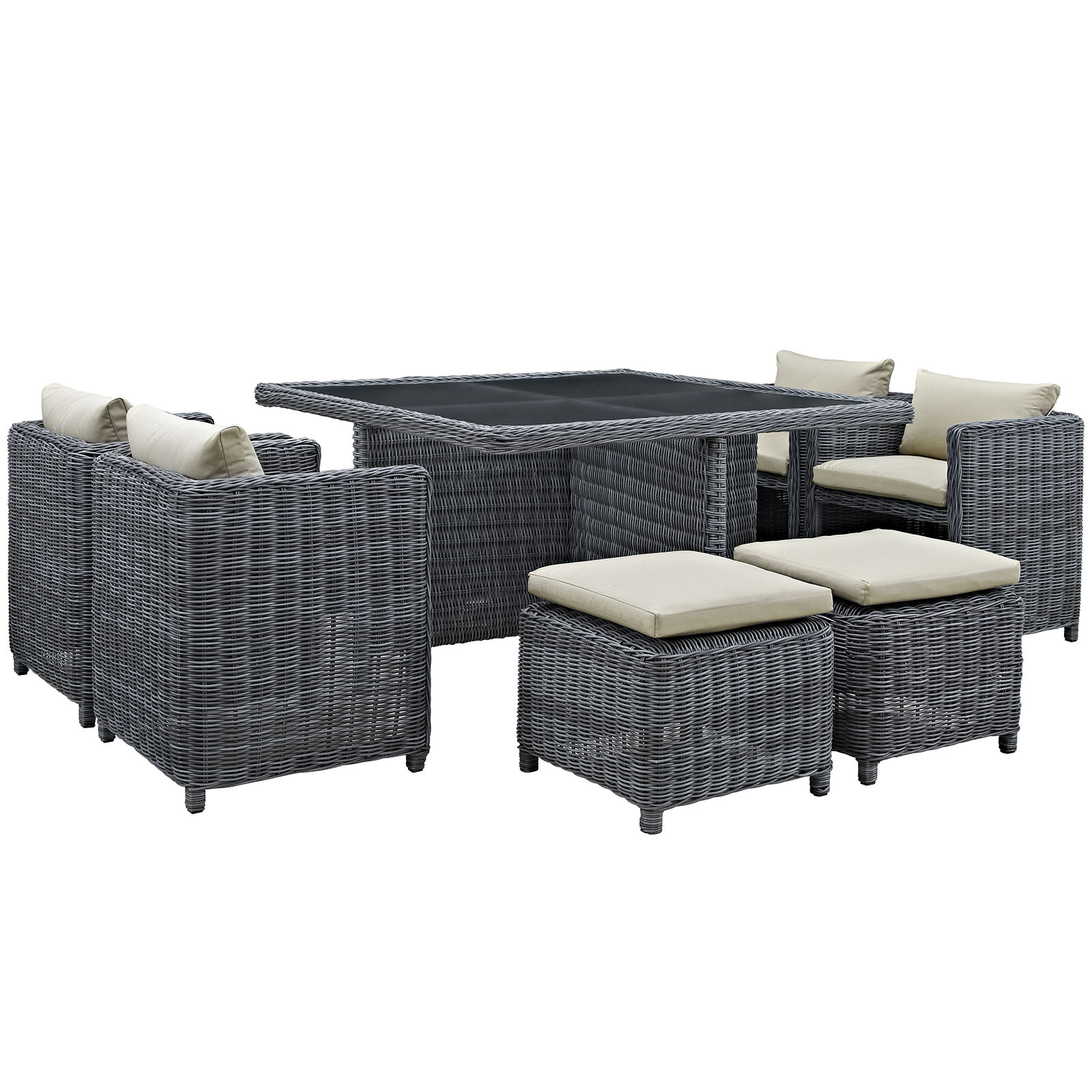 Modern Contemporary Nine PCS Outdoor Patio Dining Set, Beige, Fabric, Synthetic Rattan