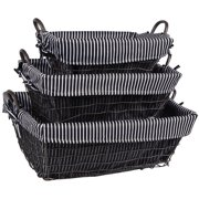 Home Essentials and Beyond 3 Piece Rectangle Metal Basket Set with Liner
