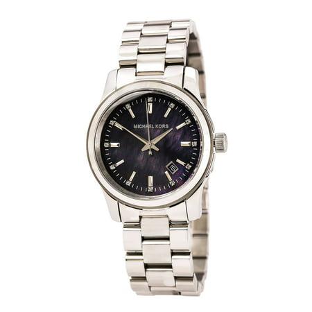 Michael Kors MK5302 Women's Runway Crystal Accented Black MOP Dial Stainless Steel Bracelet Watch
