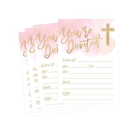 50 Pink Religious Invitations, Confirmation, Holy Communion, Baptism, Christening, Baby Dedication or Blessing, Reconciliation, 1st First Communion Invites, Easter Party Invitation Cards - Halloween Party Invitation Ideas Word