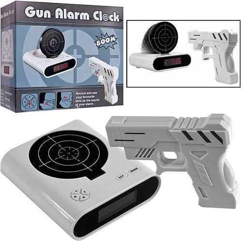 Gun and Target Recordable Alarm Clock, White