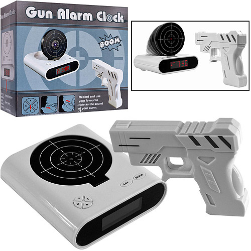 Gun and Target Recordable Alarm Clock, White