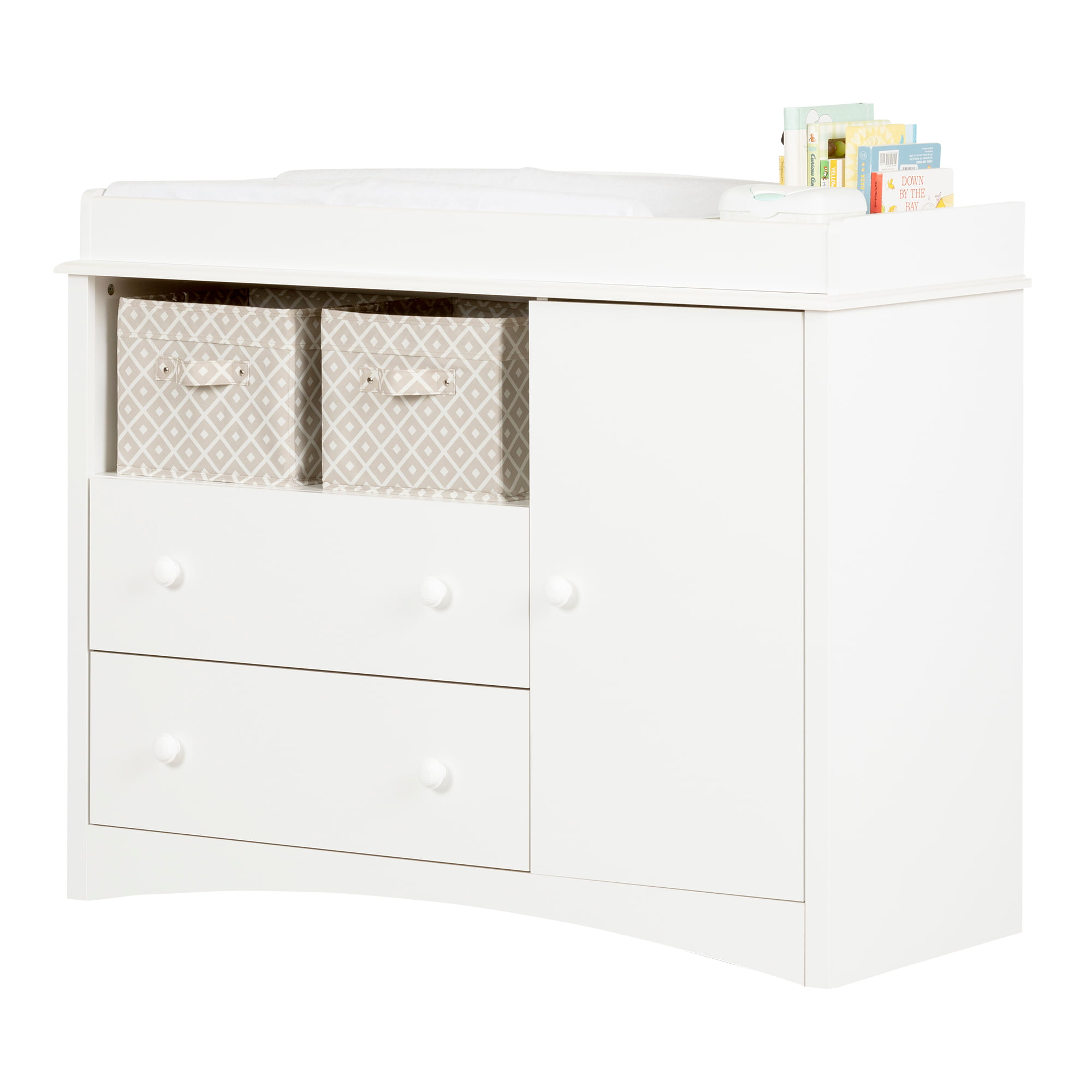 Image of: South Shore Peak A Boo Changing Table Dresser With 2 Drawers White Walmart Com Walmart Com