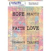 """IndigoBlu Cling Mounted Stamp 8""""X5.5""""-Word Blocks #1"""