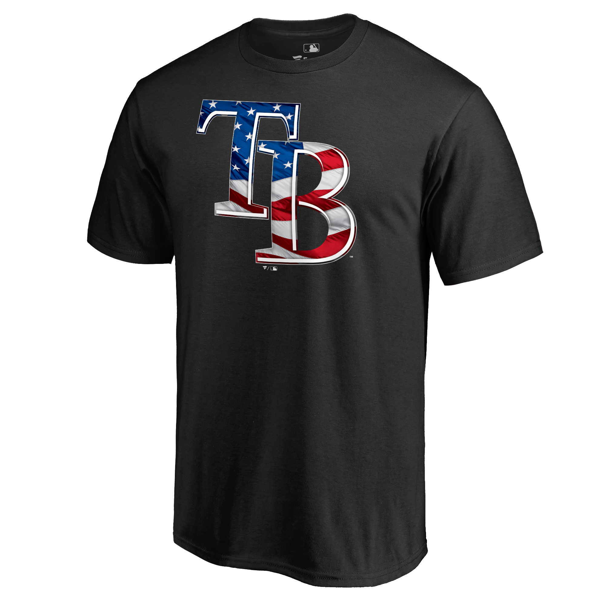 Tampa Bay Rays Fanatics Branded 2018 Stars & Stripes Banner Wave Logo T-Shirt - Black
