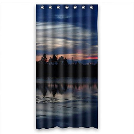 HelloDecor Twilight Shower Curtain Polyester Fabric Bathroom Decorative Curtain Size 36x72 Inches Twilight Shower Curtain