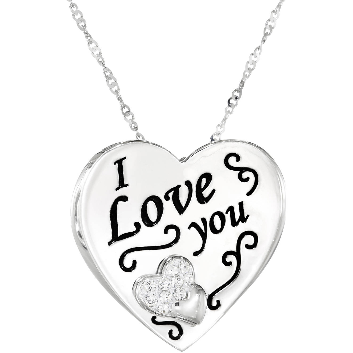 "Simply Silver Swarovski Crystal Sterling Silver ""I love you"" Heart Disk Pendant"