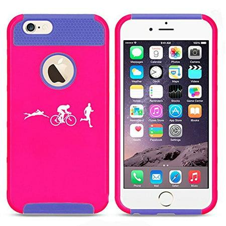 Apple iPhone SE Shockproof Impact Hard Soft Case Cover Iron Athlete Swim Bike Run Triathlon (Hot Pink-Blue),MIP