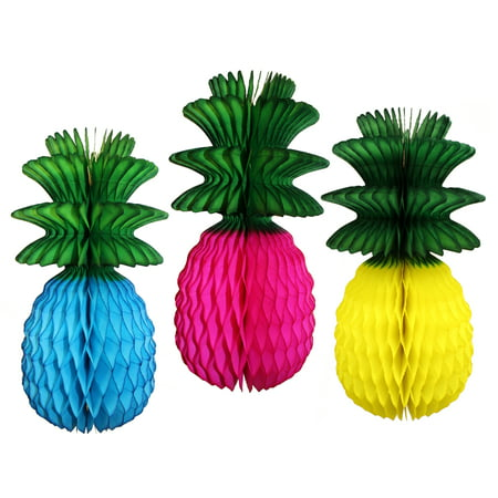 Devra Party Multi-Colored 13 Inch Honeycomb Pineapple Decoration with Green Leaves (Turquoise, Yellow, Cerise) - Pineapple Party Decorations