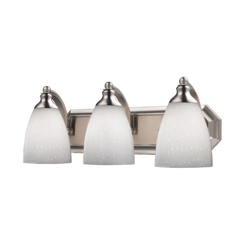 Elk 3 Light Vanity In Satin Nickel And Simply White Glass 570-3N-WH