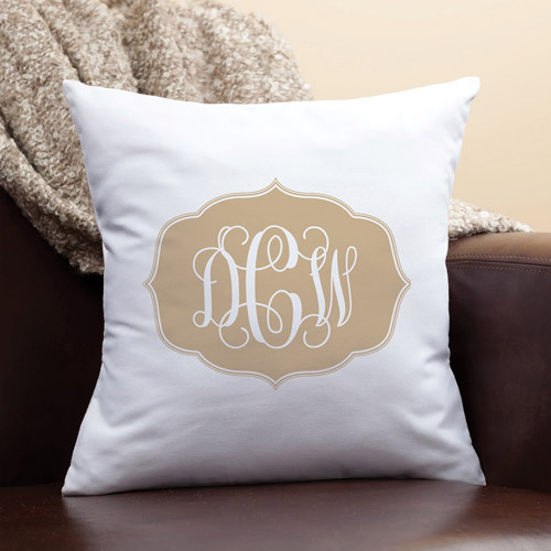 Personalized My Beige Monogram Pillow