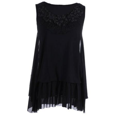 Sheer Black Lace Top - Anna-Kaci S/M Fit Black Romantic Look Lace Trim Sheer Overlay Ruffle Hem Top