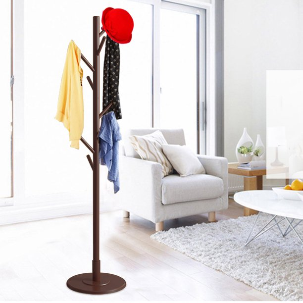OTVIAP Wooden Coat Rack Stand, 8 Hooks Vintage Tree Floor Coat